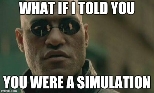 Matrix Morpheus Meme | WHAT IF I TOLD YOU YOU WERE A SIMULATION | image tagged in memes,matrix morpheus | made w/ Imgflip meme maker