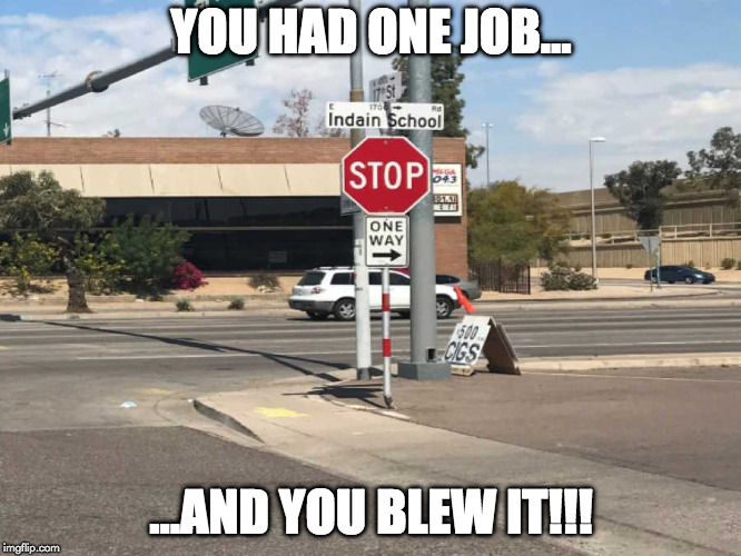 You Had One Job | YOU HAD ONE JOB... ...AND YOU BLEW IT!!! | image tagged in you had one job | made w/ Imgflip meme maker