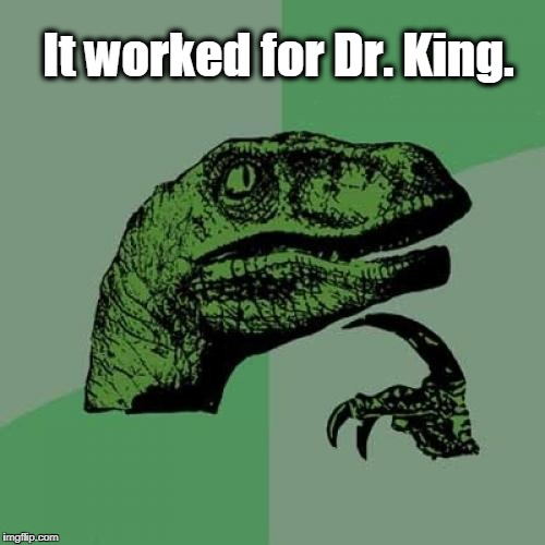 Philosoraptor Meme | It worked for Dr. King. | image tagged in memes,philosoraptor | made w/ Imgflip meme maker