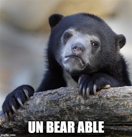 Confession Bear Meme | UN BEAR ABLE | image tagged in memes,confession bear | made w/ Imgflip meme maker