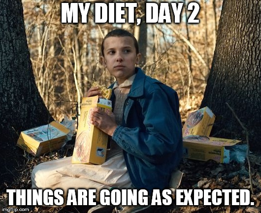 MY DIET, DAY 2 THINGS ARE GOING AS EXPECTED. | image tagged in diet,stranger things,ego,waffles | made w/ Imgflip meme maker