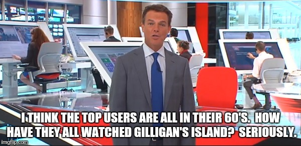I THINK THE TOP USERS ARE ALL IN THEIR 60'S.  HOW HAVE THEY ALL WATCHED GILLIGAN'S ISLAND?  SERIOUSLY. | made w/ Imgflip meme maker