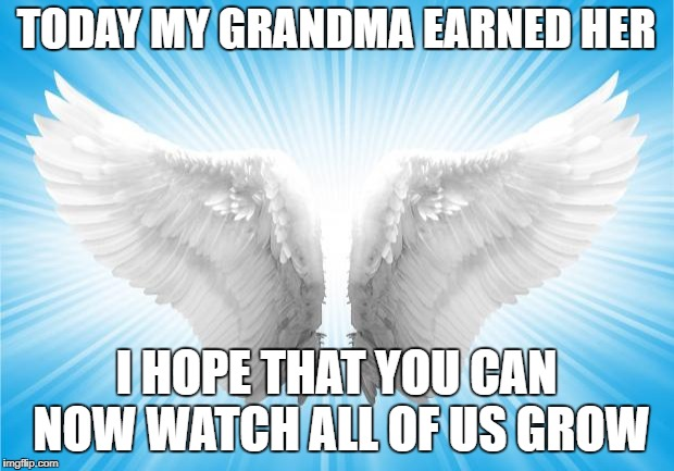 Angels | TODAY MY GRANDMA EARNED HER I HOPE THAT YOU CAN NOW WATCH ALL OF US GROW | image tagged in angels | made w/ Imgflip meme maker