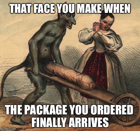 Devil Dick | THAT FACE YOU MAKE WHEN THE PACKAGE YOU ORDERED FINALLY ARRIVES | image tagged in devil,dick,art,classical art,funny memes,inappropriate | made w/ Imgflip meme maker