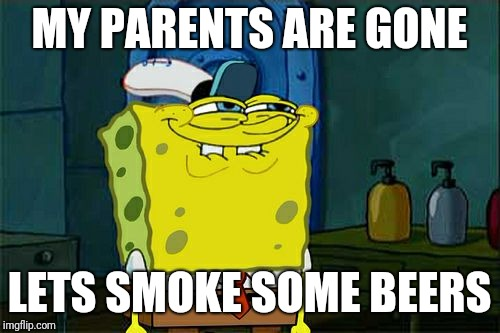 Dont You Squidward Meme | MY PARENTS ARE GONE LETS SMOKE SOME BEERS | image tagged in memes,dont you squidward | made w/ Imgflip meme maker