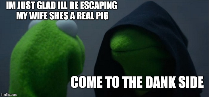Evil Kermit Meme | IM JUST GLAD ILL BE ESCAPING MY WIFE SHES A REAL PIG COME TO THE DANK SIDE | image tagged in memes,evil kermit | made w/ Imgflip meme maker