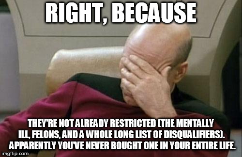 Captain Picard Facepalm Meme | RIGHT, BECAUSE THEY'RE NOT ALREADY RESTRICTED (THE MENTALLY ILL, FELONS, AND A WHOLE LONG LIST OF DISQUALIFIERS).  APPARENTLY YOU'VE NEVER B | image tagged in memes,captain picard facepalm | made w/ Imgflip meme maker
