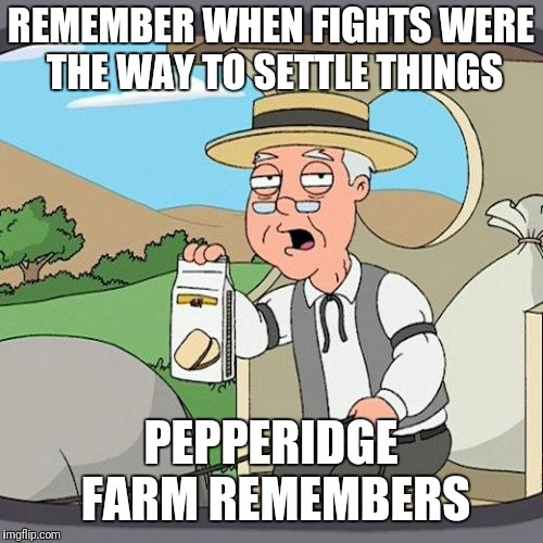 Pepperidge Farm Remembers Meme | REMEMBER WHEN FIGHTS WERE THE WAY TO SETTLE THINGS PEPPERIDGE FARM REMEMBERS | image tagged in memes,pepperidge farm remembers | made w/ Imgflip meme maker