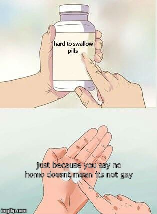 Hard To Swallow Pills | just because you say no homo doesnt mean its not gay | image tagged in hard to swallow pills | made w/ Imgflip meme maker