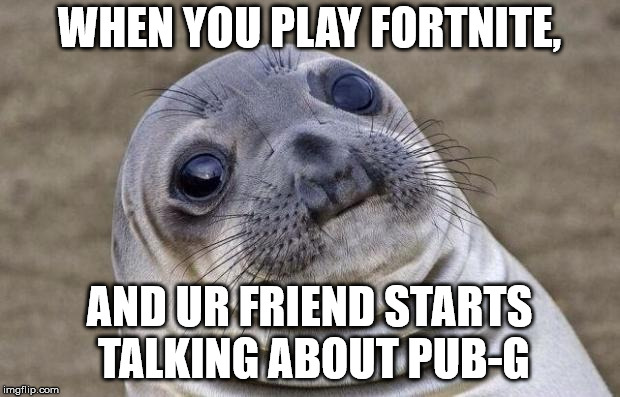 Awkward Moment Sealion Meme | WHEN YOU PLAY FORTNITE, AND UR FRIEND STARTS TALKING ABOUT PUB-G | image tagged in memes,awkward moment sealion | made w/ Imgflip meme maker