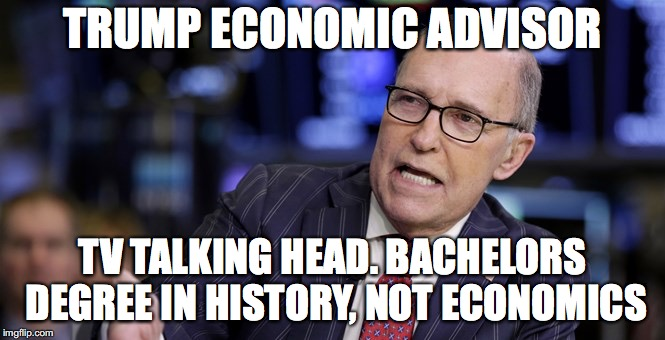 Trump Hires the Best People | TRUMP ECONOMIC ADVISOR TV TALKING HEAD. BACHELORS DEGREE IN HISTORY, NOT ECONOMICS | image tagged in donald trump,economy | made w/ Imgflip meme maker