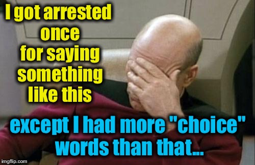 "Captain Picard Facepalm Meme | I got arrested once for saying something like this except I had more ""choice"" words than that... 