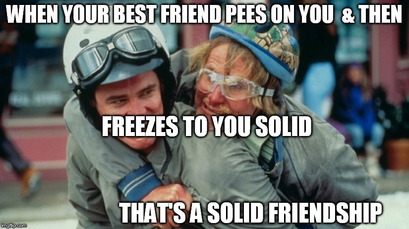 Harry  pees on   Loyd friends forever. | WHEN YOUR BEST FRIEND PEES ON YOU  & THEN FREEZES TO YOU SOLID THAT'S A SOLID FRIENDSHIP | image tagged in dumb and dumber,loyd,harry,pees | made w/ Imgflip meme maker