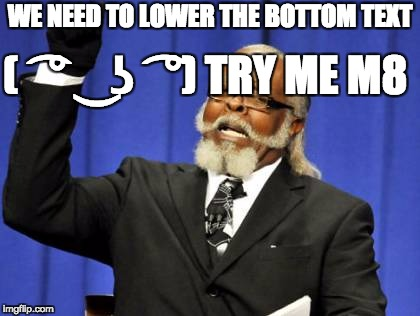 Too Damn High Meme | WE NEED TO LOWER THE BOTTOM TEXT ( ͡° ͜ʖ ͡°) TRY ME M8 | image tagged in memes,too damn high | made w/ Imgflip meme maker
