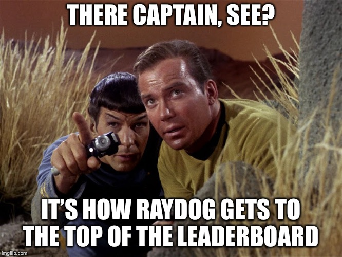 Spock and Kirk | THERE CAPTAIN, SEE? IT'S HOW RAYDOG GETS TO THE TOP OF THE LEADERBOARD | image tagged in spock and kirk | made w/ Imgflip meme maker