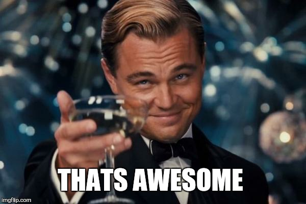 Leonardo Dicaprio Cheers Meme | THATS AWESOME | image tagged in memes,leonardo dicaprio cheers | made w/ Imgflip meme maker