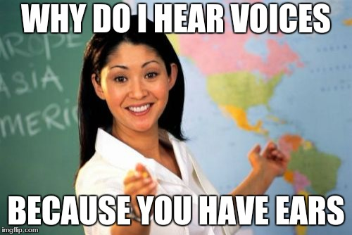 Unhelpful High School Teacher Meme | WHY DO I HEAR VOICES BECAUSE YOU HAVE EARS | image tagged in memes,unhelpful high school teacher | made w/ Imgflip meme maker