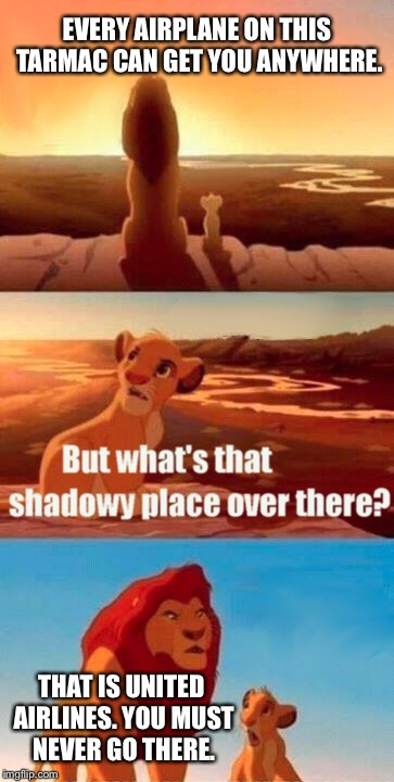 Mufasa doesn't fly United Airlines | EVERY AIRPLANE ON THIS TARMAC CAN GET YOU ANYWHERE. THAT IS UNITED AIRLINES. YOU MUST NEVER GO THERE. | image tagged in memes,simba shadowy place,united airlines,airplane,flight attendant,advice | made w/ Imgflip meme maker