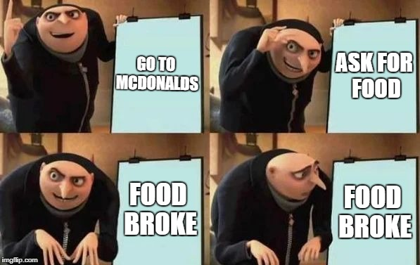 Understandable, have a nice day |  ASK FOR FOOD; GO TO MCDONALDS; FOOD BROKE; FOOD BROKE | image tagged in gru's plan,understandable,have a nice day,food broke,mcdonalds,food | made w/ Imgflip meme maker