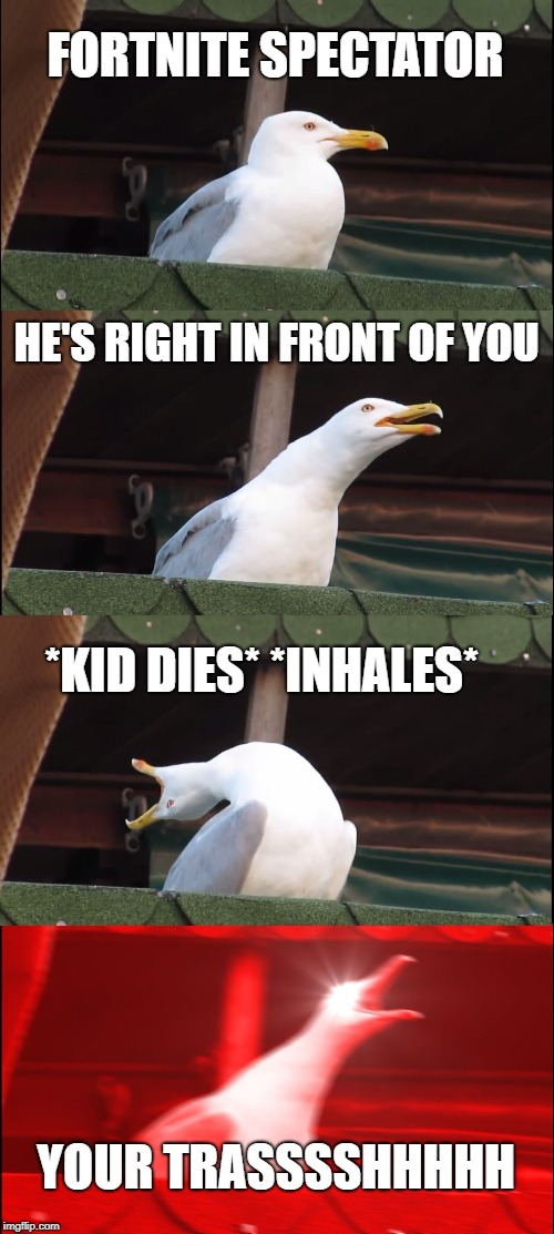 Inhaling Seagull Meme | FORTNITE SPECTATOR HE'S RIGHT IN FRONT OF YOU *KID DIES* *INHALES* YOUR TRASSSSHHHHH | image tagged in memes,inhaling seagull | made w/ Imgflip meme maker