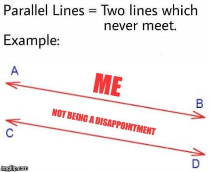 ME NOT BEING A DISAPPOINTMENT | image tagged in parellel lines | made w/ Imgflip meme maker
