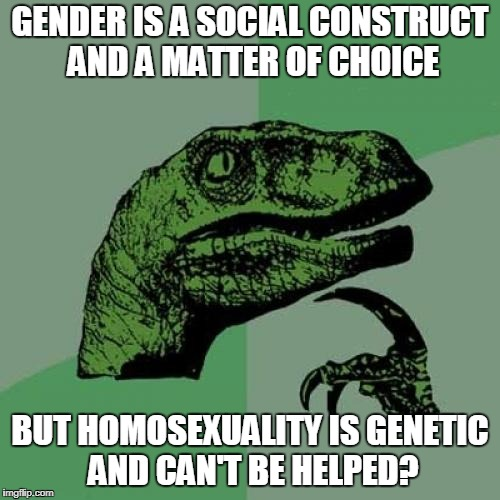 Philosoraptor Meme | GENDER IS A SOCIAL CONSTRUCT AND A MATTER OF CHOICE BUT HOMOSEXUALITY IS GENETIC AND CAN'T BE HELPED? | image tagged in memes,philosoraptor | made w/ Imgflip meme maker