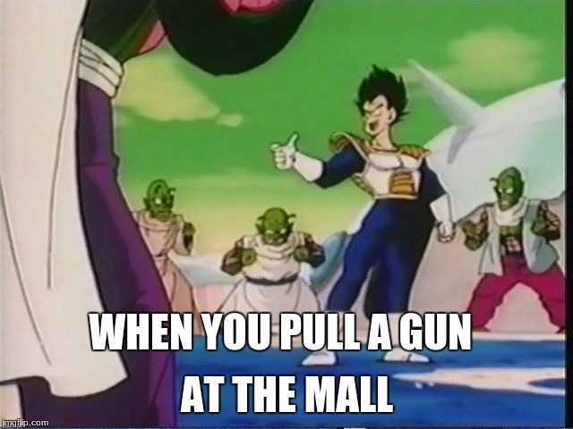 When you pull a gun at the mall | WHEN YOU PULL A GUN AT THE MALL | image tagged in memes,vegeta,funny | made w/ Imgflip meme maker