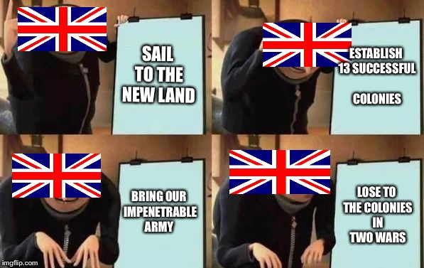 Gru's Plan | SAIL TO THE NEW LAND ESTABLISH 13 SUCCESSFUL COLONIES BRING OUR IMPENETRABLE ARMY LOSE TO THE COLONIES IN TWO WARS | image tagged in gru's plan | made w/ Imgflip meme maker