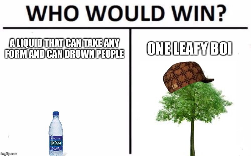 Who Would Win? Meme | A LIQUID THAT CAN TAKE ANY FORM AND CAN DROWN PEOPLE ONE LEAFY BOI | image tagged in memes,who would win,scumbag | made w/ Imgflip meme maker