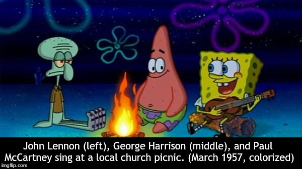 John Lennon (left), George Harrison (middle), and Paul McCartney sing at a local church picnic. (March 1957, colorized) | image tagged in the beatles | made w/ Imgflip meme maker