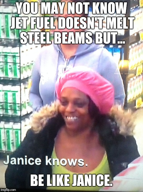 Be like Janice | YOU MAY NOT KNOW JET FUEL DOESN'T MELT STEEL BEAMS BUT... BE LIKE JANICE. | image tagged in she knew all along,memes,jet fuel,steel beams,9-11,truth | made w/ Imgflip meme maker