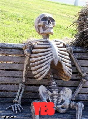 Waiting Skeleton Meme | YES | image tagged in memes,waiting skeleton | made w/ Imgflip meme maker