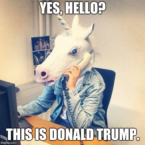 Unicorn Phone | YES, HELLO? THIS IS DONALD TRUMP. | image tagged in unicorn phone | made w/ Imgflip meme maker
