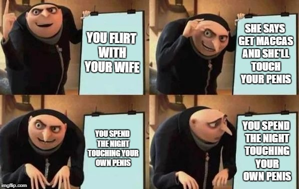 Gru's Plan | YOU FLIRT WITH YOUR WIFE SHE SAYS GET MACCAS AND SHE'LL TOUCH YOUR P**IS YOU SPEND THE NIGHT TOUCHING YOUR OWN P**IS YOU SPEND THE NIGHT TOU | image tagged in gru's plan,AdviceAnimals | made w/ Imgflip meme maker