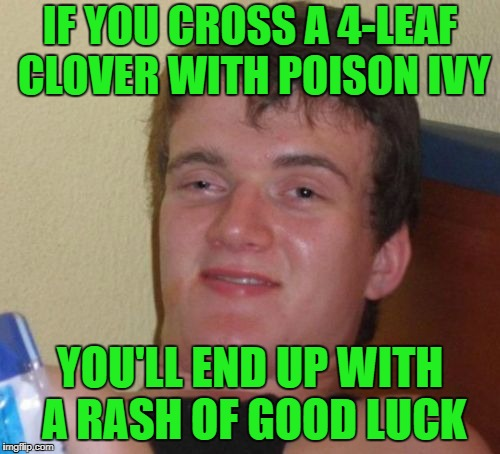 Just Lucky, I Guess. | IF YOU CROSS A 4-LEAF CLOVER WITH POISON IVY YOU'LL END UP WITH A RASH OF GOOD LUCK | image tagged in memes,10 guy | made w/ Imgflip meme maker