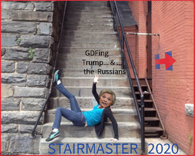 Stairmaster 2020 | image tagged in stairmaster,hillary falling down stairs,current events,politics lol,funny memes,political meme | made w/ Imgflip meme maker