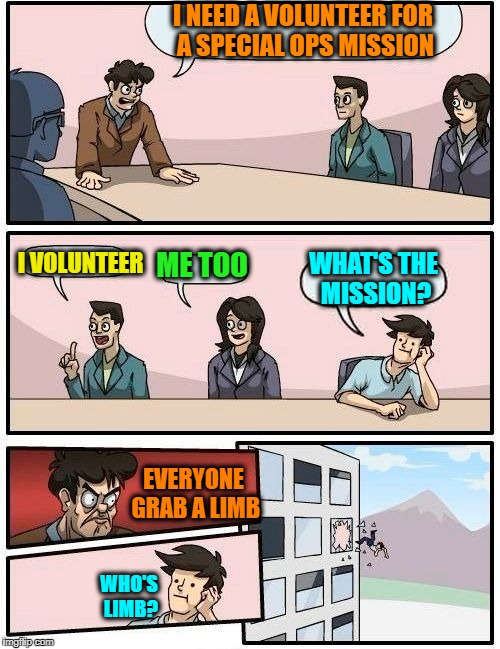 Just accept the mission | I NEED A VOLUNTEER FOR A SPECIAL OPS MISSION I VOLUNTEER ME TOO WHAT'S THE MISSION? EVERYONE GRAB A LIMB WHO'S LIMB? | image tagged in memes,boardroom meeting suggestion | made w/ Imgflip meme maker