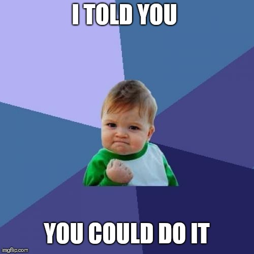 Success Kid Meme | I TOLD YOU YOU COULD DO IT | image tagged in memes,success kid | made w/ Imgflip meme maker