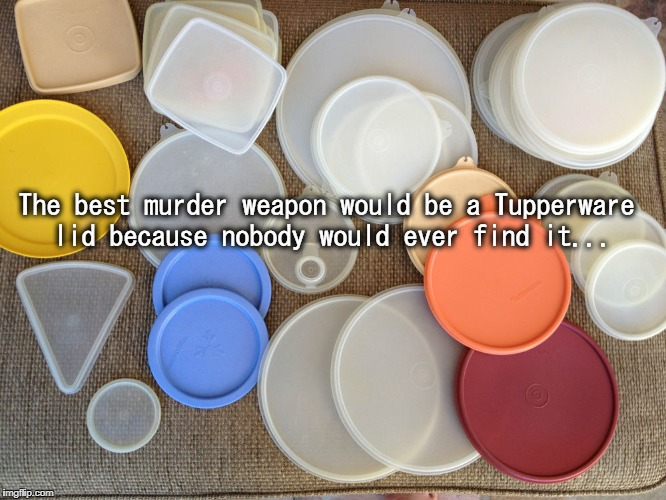 Best Murder Weapon... | The best murder weapon would be a Tupperware lid because nobody would ever find it... | image tagged in tupperware,lid,never,find | made w/ Imgflip meme maker