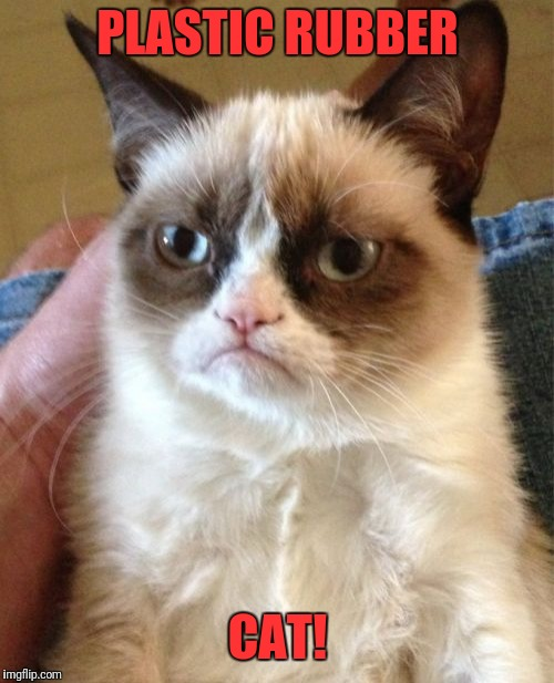 Grumpy Cat Meme | PLASTIC RUBBER CAT! | image tagged in memes,grumpy cat | made w/ Imgflip meme maker