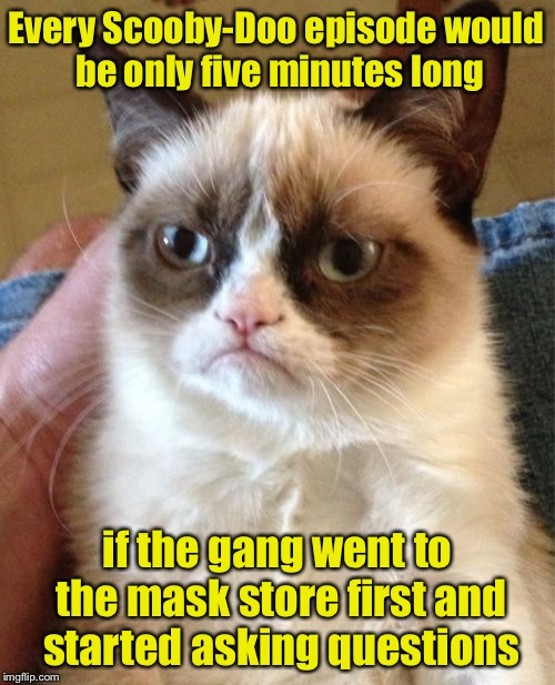 Why Grumpy Cat hates dogs and their owners | Every Scooby-Doo episode would be only five minutes long if the gang went to the mask store first and started asking questions | image tagged in memes,grumpy cat,scooby doo,masks | made w/ Imgflip meme maker