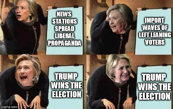 Deplorable Me | NEWS STATIONS SPREAD LIBERAL PROPAGANDA TRUMP WINS THE ELECTION TRUMP WINS THE ELECTION IMPORT WAVES OF LEFT LEANING VOTERS | image tagged in hillary's plan,gru's plan,memes,hillary,trump,2018 | made w/ Imgflip meme maker