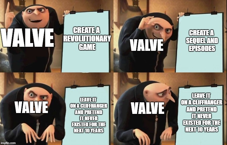 Valve's game plan for Half-Life | CREATE A REVOLUTIONARY GAME CREATE A SEQUEL AND EPISODES VALVE LEAVE IT ON A CLIFFHANGER AND PRETEND IT NEVER EXISTED FOR THE NEXT 10 YEARS  | image tagged in despicable me diabolical plan gru template,valve,half life,despicable me | made w/ Imgflip meme maker