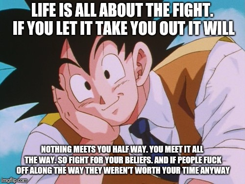 Condescending Goku Meme | LIFE IS ALL ABOUT THE FIGHT. IF YOU LET IT TAKE YOU OUT IT WILL NOTHING MEETS YOU HALF WAY.YOU MEET IT ALL THE WAY. SO FIGHT FOR YOUR BELIE | image tagged in memes,condescending goku | made w/ Imgflip meme maker