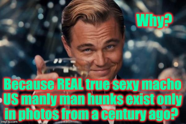 Leonardo Dicaprio Cheers Meme | Why? Because REAL true sexy macho US manly man hunks exist only in photos from a century ago? | image tagged in memes,leonardo dicaprio cheers | made w/ Imgflip meme maker