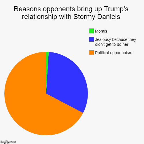 And the same goes for Clinton & Lewinsky! | Reasons opponents bring up Trump's relationship with Stormy Daniels | Political opportunism, Jealousy because they didn't get to do her, Mor | image tagged in pie charts,trump,stormy daniels,politics | made w/ Imgflip pie chart maker