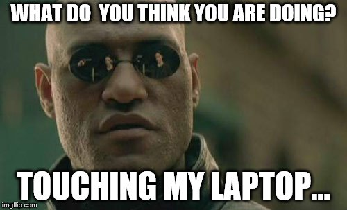 Matrix Morpheus Meme | WHAT DO  YOU THINK YOU ARE DOING? TOUCHING MY LAPTOP... | image tagged in memes,matrix morpheus | made w/ Imgflip meme maker