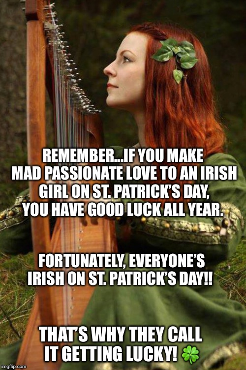 REMEMBER...IF YOU MAKE MAD PASSIONATE LOVE TO AN IRISH GIRL ON ST. PATRICK'S DAY, YOU HAVE GOOD LUCK ALL YEAR. THAT'S WHY THEY CALL IT GETTI | image tagged in irish | made w/ Imgflip meme maker