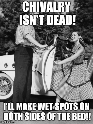 chivalry car guy | CHIVALRY ISN'T DEAD! I'LL MAKE WET SPOTS ON BOTH SIDES OF THE BED!! | image tagged in chivalry car guy | made w/ Imgflip meme maker