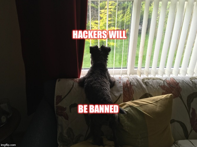 Henry  | HACKERS WILL BE BANNED | image tagged in hackers | made w/ Imgflip meme maker